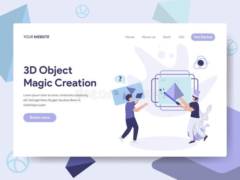 Plantilla de aterrizaje de la página de 3D que imprime concepto mágico del ejemplo de la creación del objeto Concepto de diseño p stock de ilustración