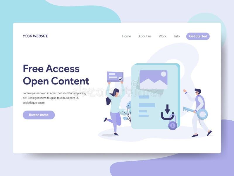 Plantilla de aterrizaje de la página del acceso libre y del concepto contento abierto del ejemplo Concepto de diseño plano isomét libre illustration