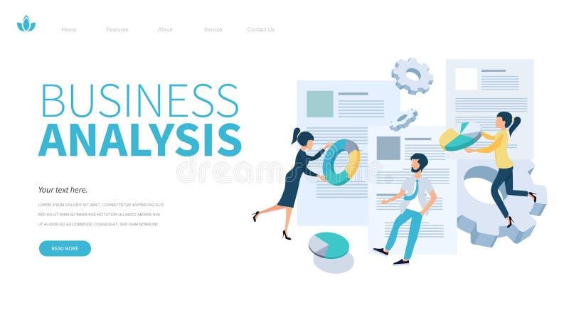 Plantilla de aterrizaje de la página del análisis de negocio r vec plano ilustración del vector