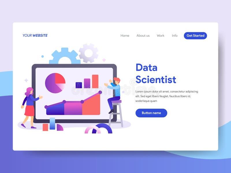 Plantilla de aterrizaje de la página del científico Concept de los datos r Vect stock de ilustración