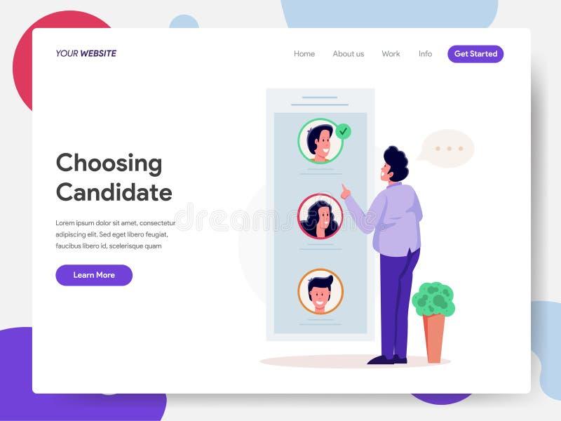 Plantilla de aterrizaje de la página del ciudadano que elige concepto del ejemplo del candidato o del voto Concepto de diseño mod stock de ilustración