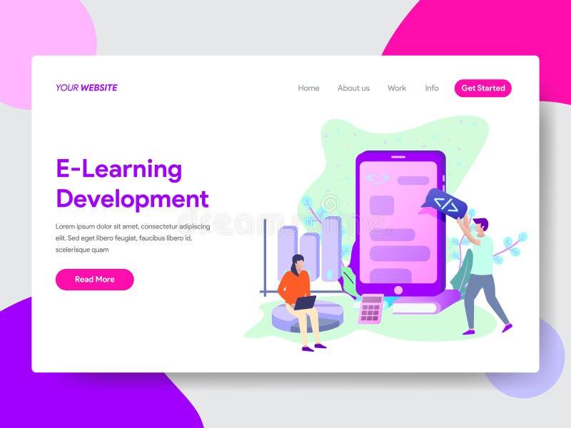 Plantilla de aterrizaje de la página del concepto del ejemplo del desarrollo del aprendizaje electrónico Concepto de diseño plano stock de ilustración