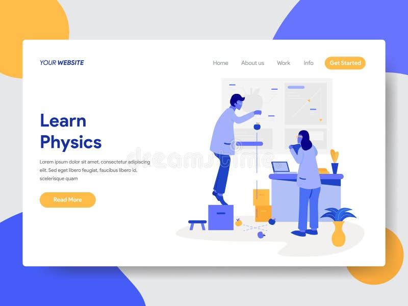Plantilla de aterrizaje de la página del concepto del ejemplo de la física Learn Concepto de diseño plano moderno del diseño de l stock de ilustración