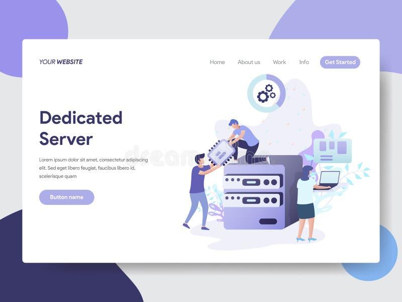 Plantilla de aterrizaje de la página del concepto del ejemplo del servidor dedicado Concepto de diseño plano moderno del diseño d stock de ilustración