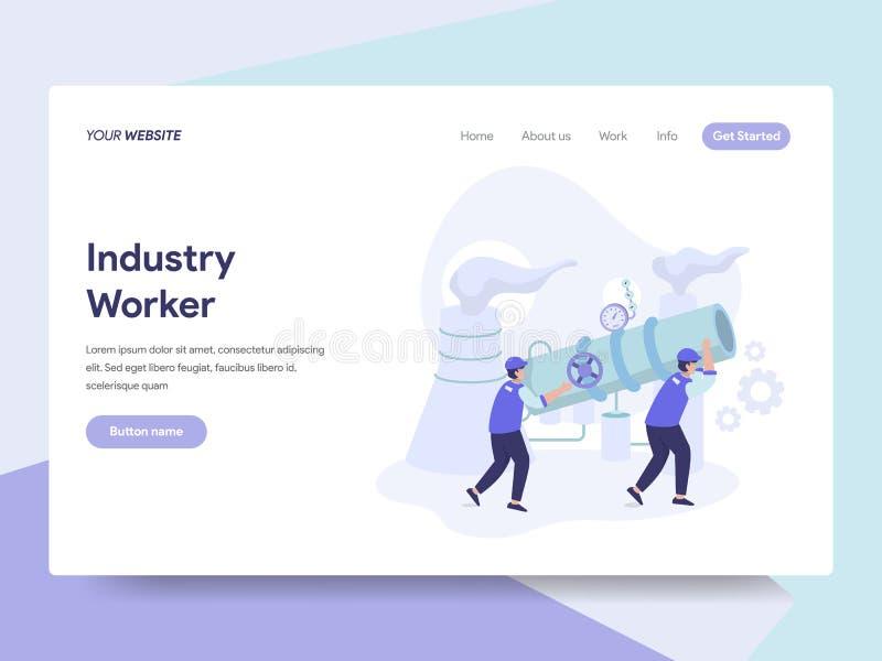 Plantilla de aterrizaje de la página del concepto del ejemplo del trabajador industrial Concepto de diseño plano isométrico del d libre illustration