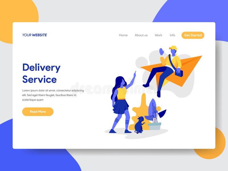 Plantilla de aterrizaje de la página del concepto en línea del ejemplo del servicio de entrega Concepto de diseño plano moderno d stock de ilustración