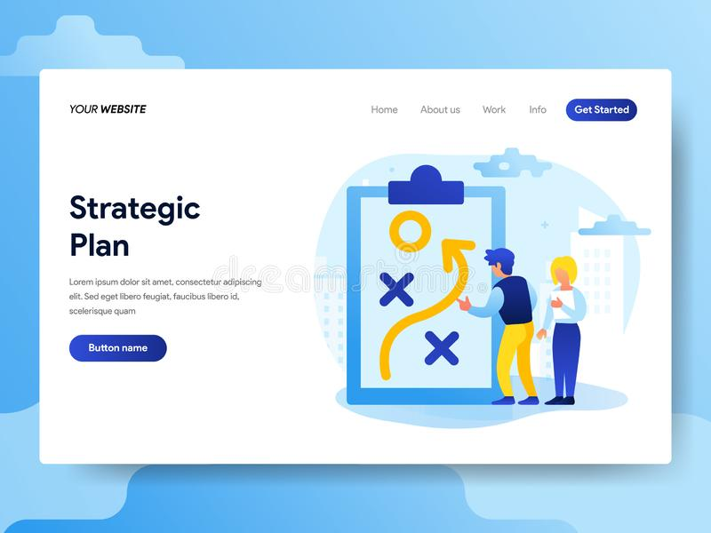 Plantilla de aterrizaje de la página del concepto estratégico del plan r stock de ilustración