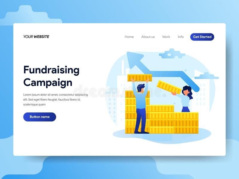 Plantilla de aterrizaje de la página del concepto Fundraising de la campaña Concepto de diseño plano moderno del diseño de la pág stock de ilustración