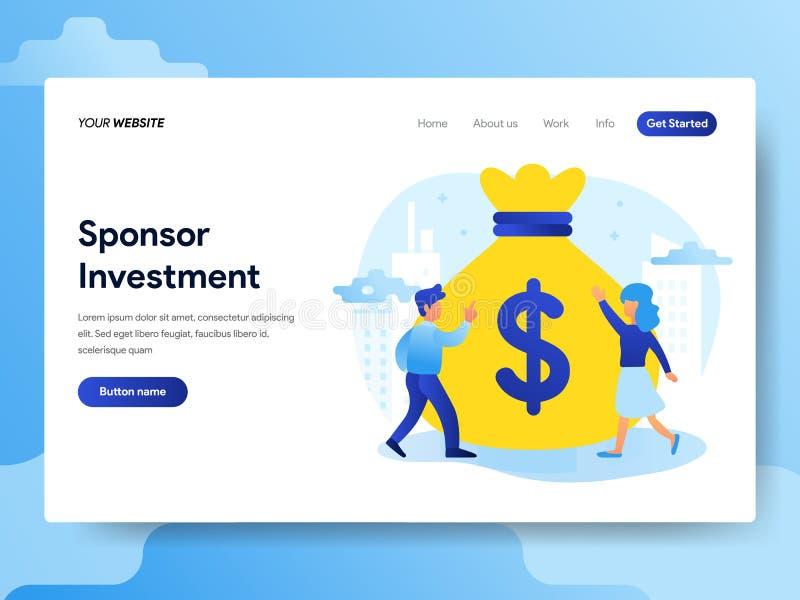 Plantilla de aterrizaje de la página del concepto de la inversión del patrocinio Concepto de diseño plano moderno del diseño de l libre illustration