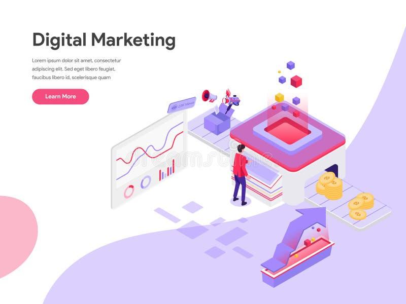 Plantilla de aterrizaje de la página del concepto isométrico del ejemplo del coste de comercialización de Digitaces Concepto de d libre illustration