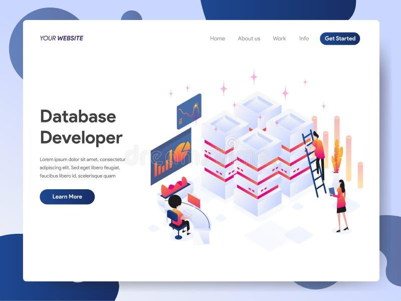 Plantilla de aterrizaje de la página del concepto isométrico del ejemplo del desarrollador de la base de datos Concepto de diseño libre illustration