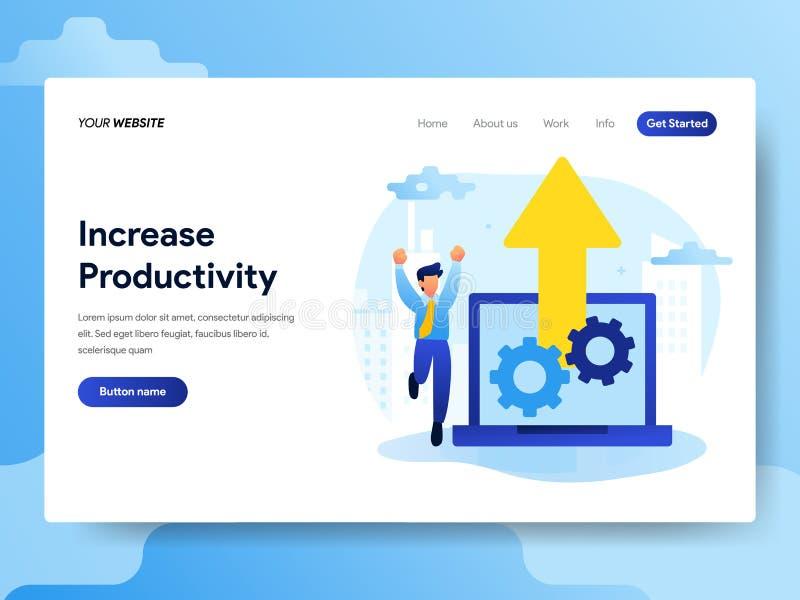 Plantilla de aterrizaje de la página del concepto de la productividad del aumento Concepto de diseño plano moderno del diseño de  ilustración del vector