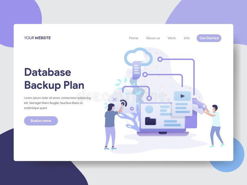 Plantilla de aterrizaje de la página del concepto de reserva del ejemplo del plan de la base de datos Concepto de diseño plano mo stock de ilustración