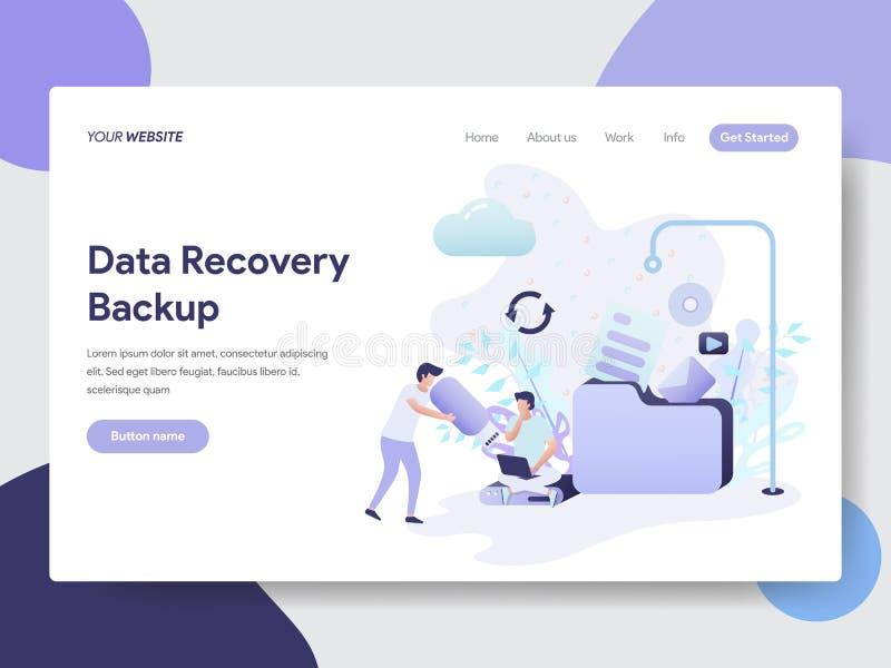 Plantilla de aterrizaje de la página del concepto de reserva del ejemplo de la recuperación de los datos Concepto de diseño plano libre illustration