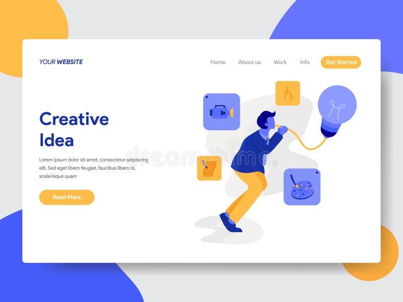 Plantilla de aterrizaje de la página del hombre de negocios con concepto creativo de la idea Concepto de diseño plano moderno del stock de ilustración