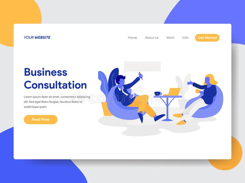 Plantilla de aterrizaje de la página del hombre de negocios que hace concepto de la consulta del negocio Concepto de diseño plano ilustración del vector