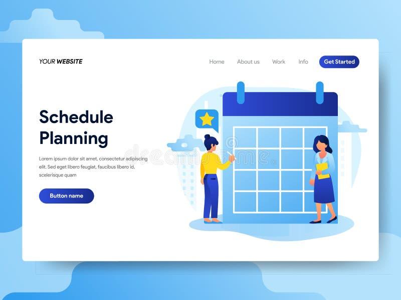 Plantilla de aterrizaje de la página del hombre de negocios que hace el planeamiento del horario Concepto de diseño plano moderno libre illustration