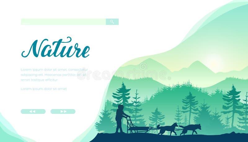 Plantilla de aterrizaje de la página del vector el competir con de perro de trineo ilustración del vector