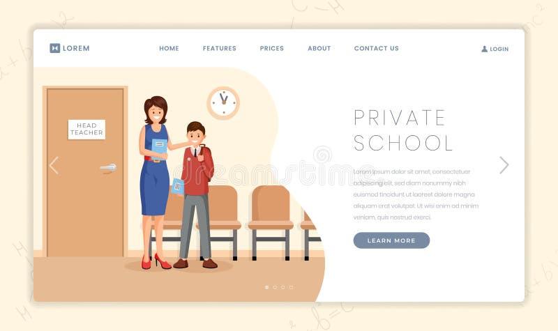 Plantilla de aterrizaje de la página del vector de la escuela de la élite Nuevo alumno del saludo alegre del profesor principal,  libre illustration