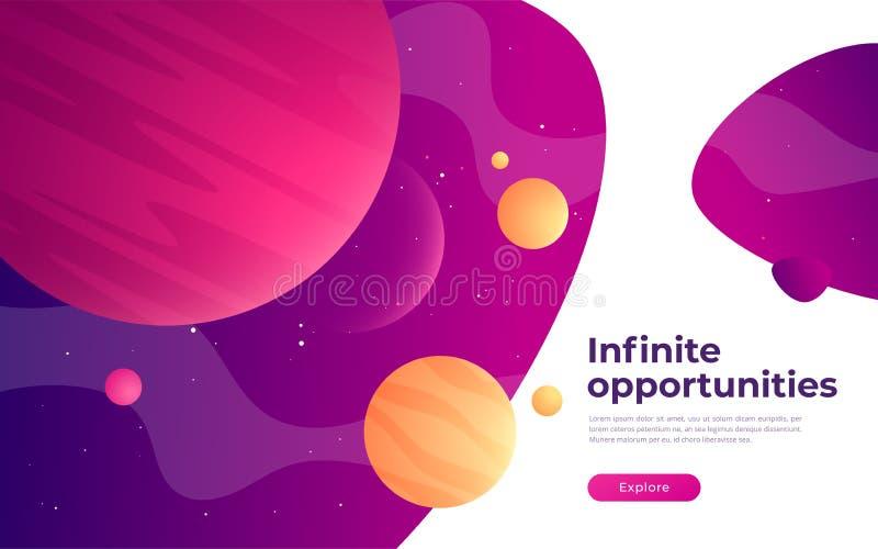 Plantilla de aterrizaje de la página en el tema de la realidad del espacio, de la exploración, de las tecnologías, virtual y aume stock de ilustración