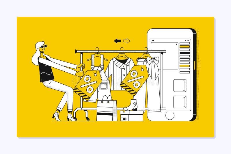 Plantilla de aterrizaje de la página de las compras en línea Mujer bonita que hace compras en línea stock de ilustración