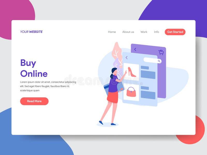 Plantilla de aterrizaje de la página de las compras en línea r Vector stock de ilustración