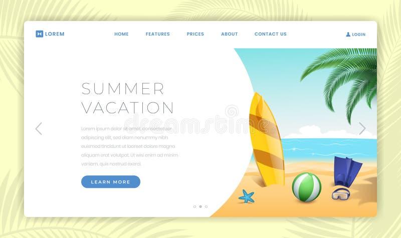 Plantilla de aterrizaje de la página de las vacaciones del verano Practicando surf, equipo del buceo con escafandra en la playa a stock de ilustración
