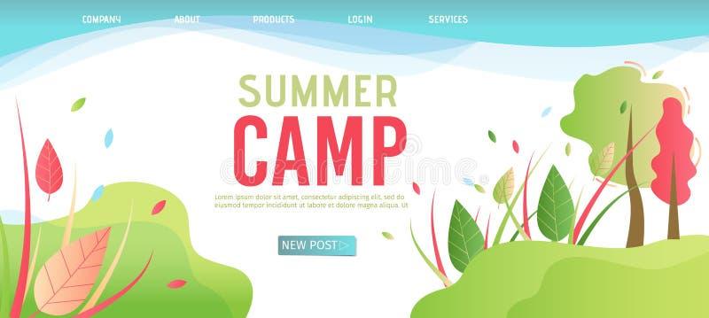 Plantilla de aterrizaje de la página para el campamento de verano de la organización stock de ilustración