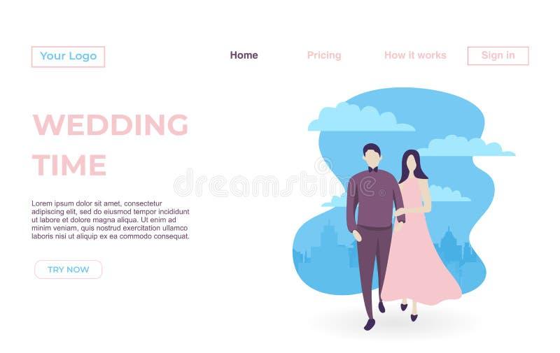 Plantilla de aterrizaje de la página de pares con fechar concepto del ejemplo de los Apps Concepto de diseño plano moderno de cas libre illustration