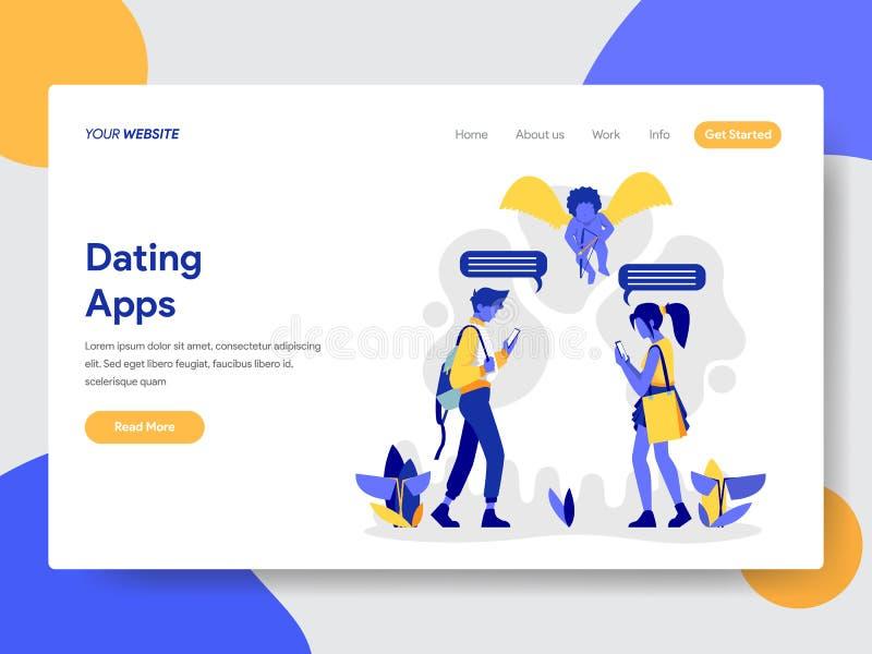 Plantilla de aterrizaje de la página de pares con fechar concepto del ejemplo de los Apps Concepto de diseño plano moderno del di stock de ilustración