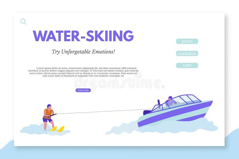 Plantilla de aterrizaje de la página que hace esquí acuático con el espacio del texto stock de ilustración