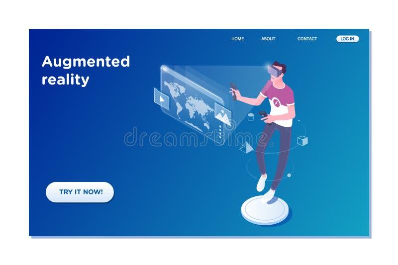Plantilla de aterrizaje de la página de la realidad aumentada virtual ejemplo isométrico del vector 3d stock de ilustración