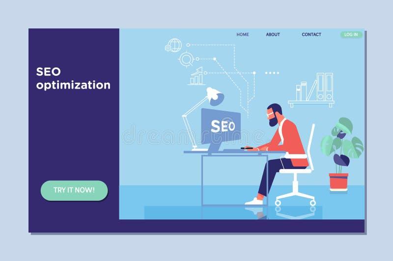 Plantilla de aterrizaje de la página de Seo Optimization para el sitio web y el sitio web del móvil Ilustración del vector stock de ilustración