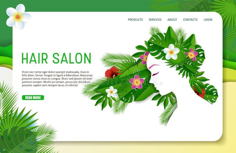 Plantilla de aterrizaje de la página web de la página de la peluquería del corte del papel del vector libre illustration