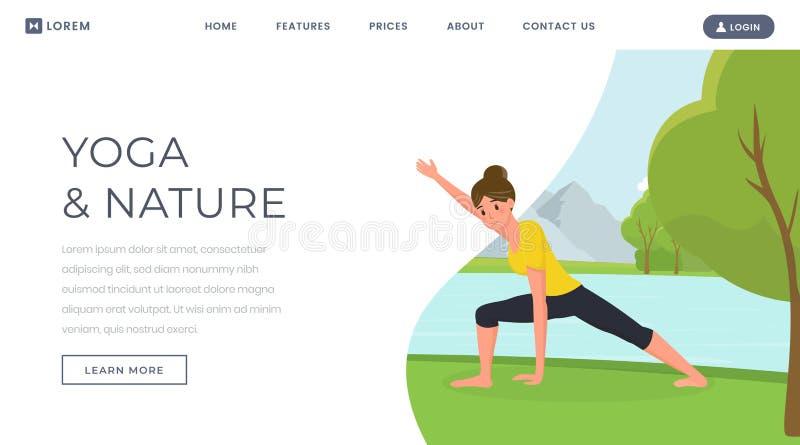 Plantilla de aterrizaje plana del vector de la página de la yoga Cuerpo de entrenamiento de la mujer en la naturaleza, guardando  libre illustration