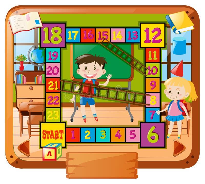 Plantilla de Boardgame con los niños en el fondo de la escuela stock de ilustración