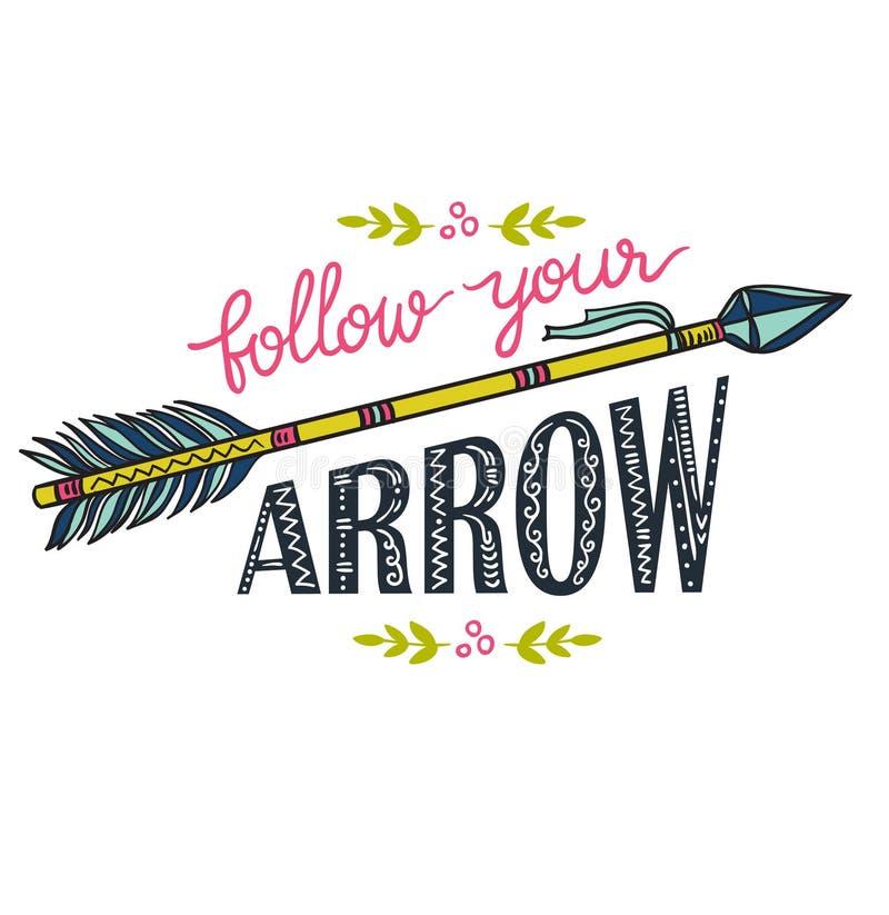 Plantilla de Boho con las letras inspiradas de la cita - siga su flecha libre illustration
