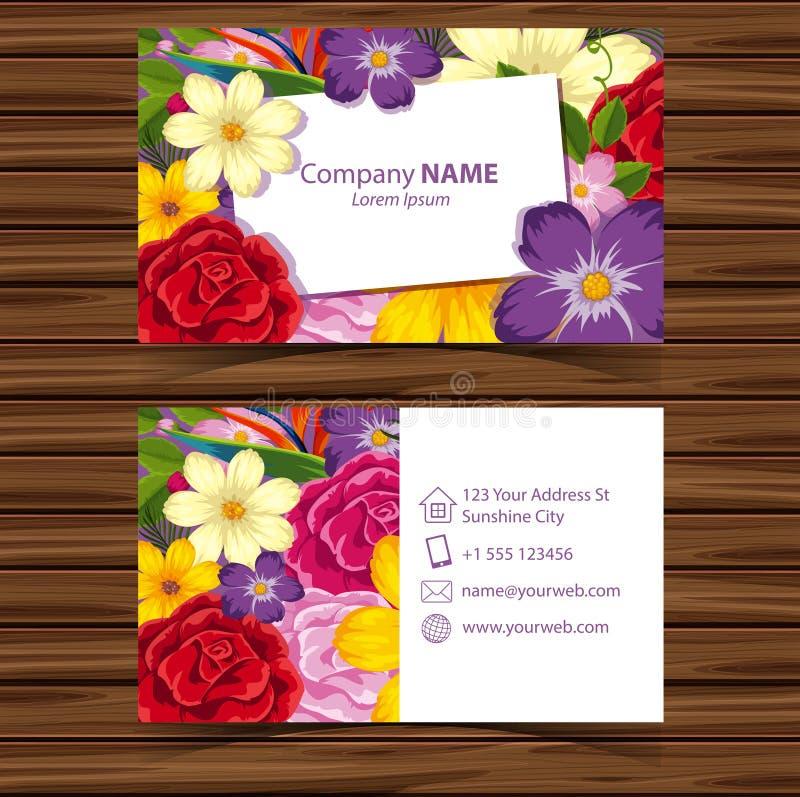 Plantilla de Businesscard con las flores coloridas ilustración del vector