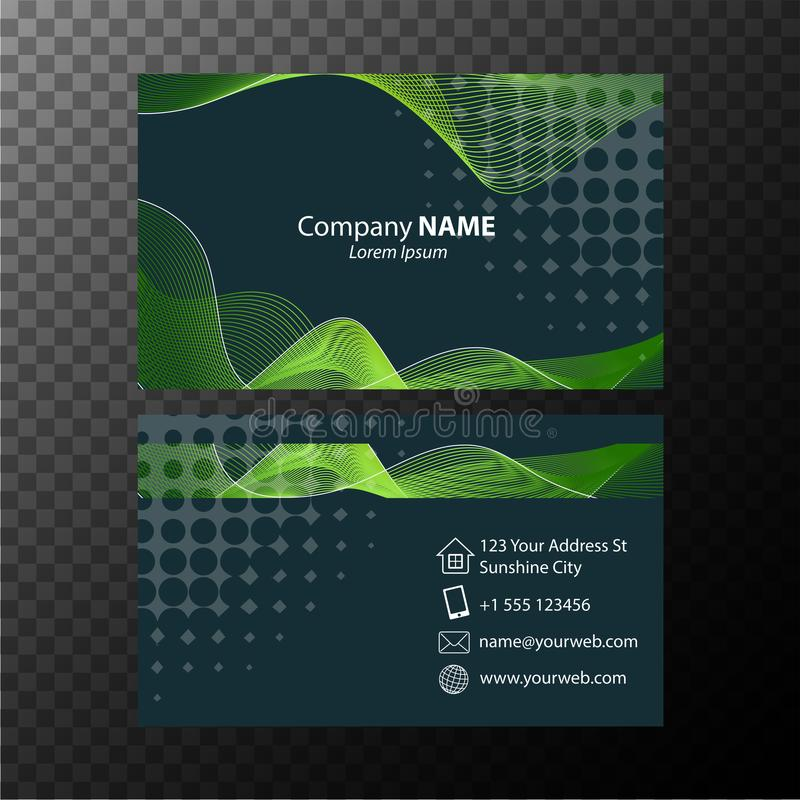 Plantilla de Businesscard con las líneas onduladas verdes stock de ilustración