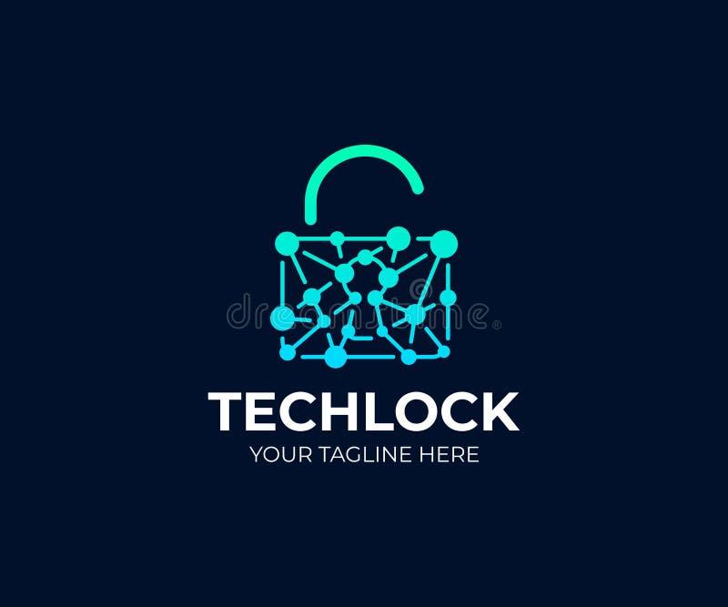 Plantilla de cadena del logotipo del candado y de la red Diseño del vector de la cerradura abierta y del circuito libre illustration