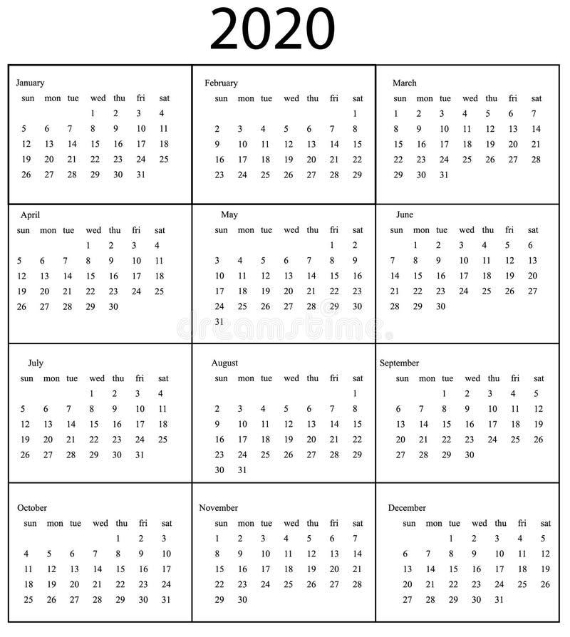 Plantilla de 2020 calendarios Comienzo domingo stock de ilustración
