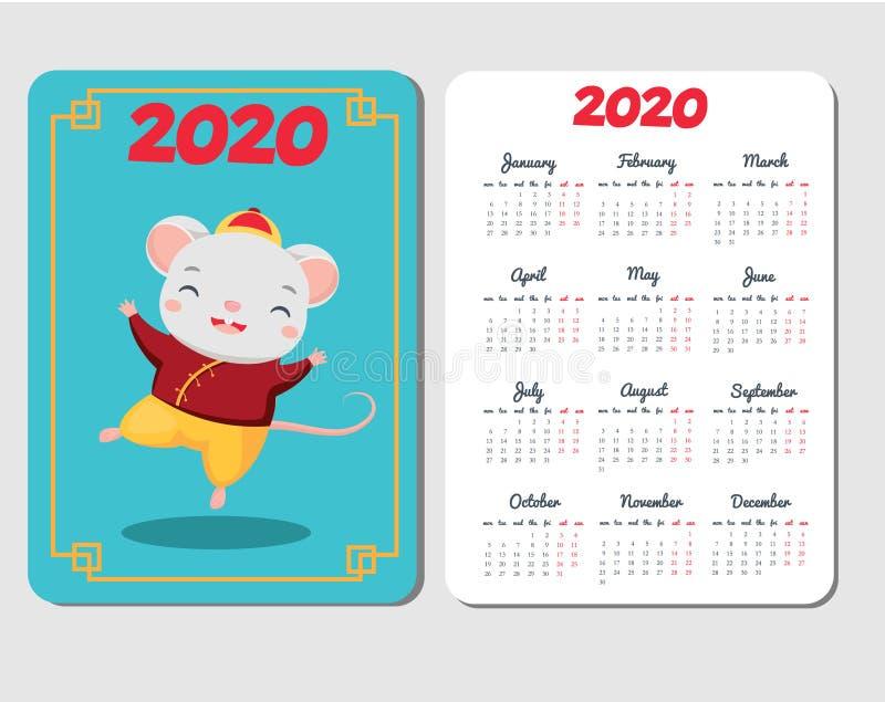 plantilla de 2020 calendarios con el ratón de la historieta Diseño chino del Año Nuevo con danza divertida del carácter de la rat stock de ilustración