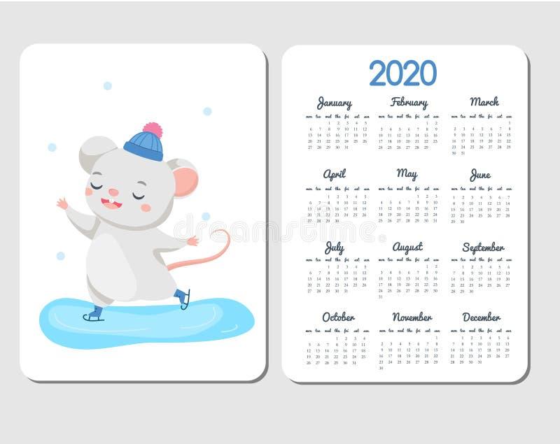 plantilla de 2020 calendarios con el ratón de la historieta Diseño chino del Año Nuevo con el patinaje de hielo divertido de la r stock de ilustración