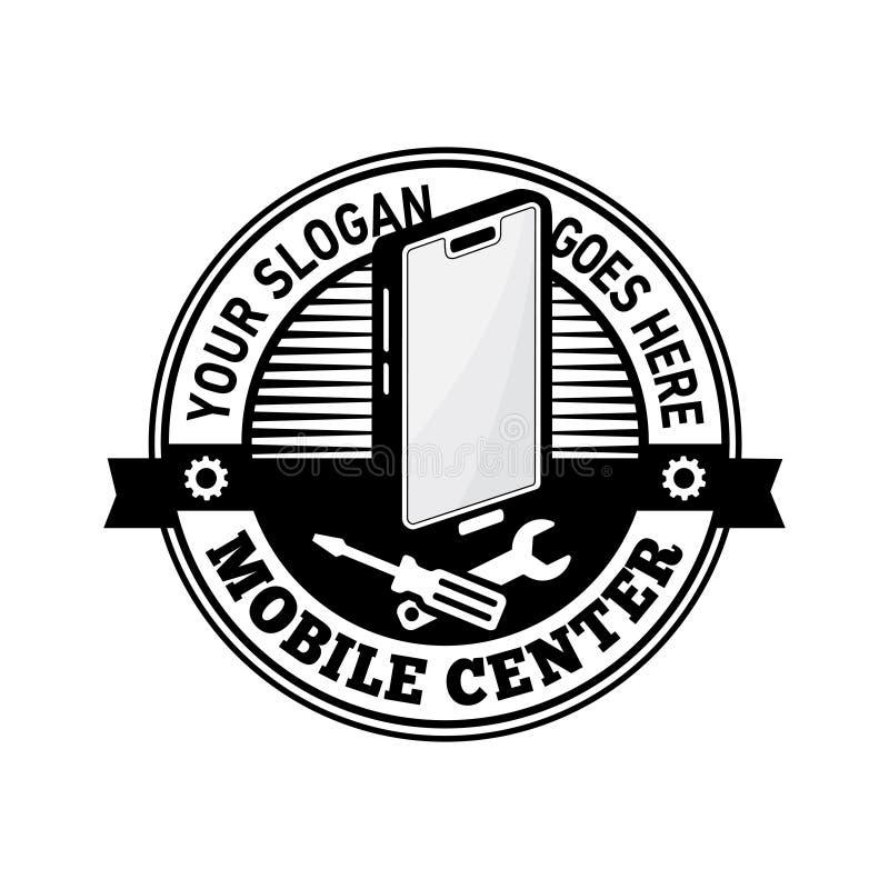 Plantilla de centro móvil del diseño del logotipo Vector y ejemplo del teléfono móvil ilustración del vector