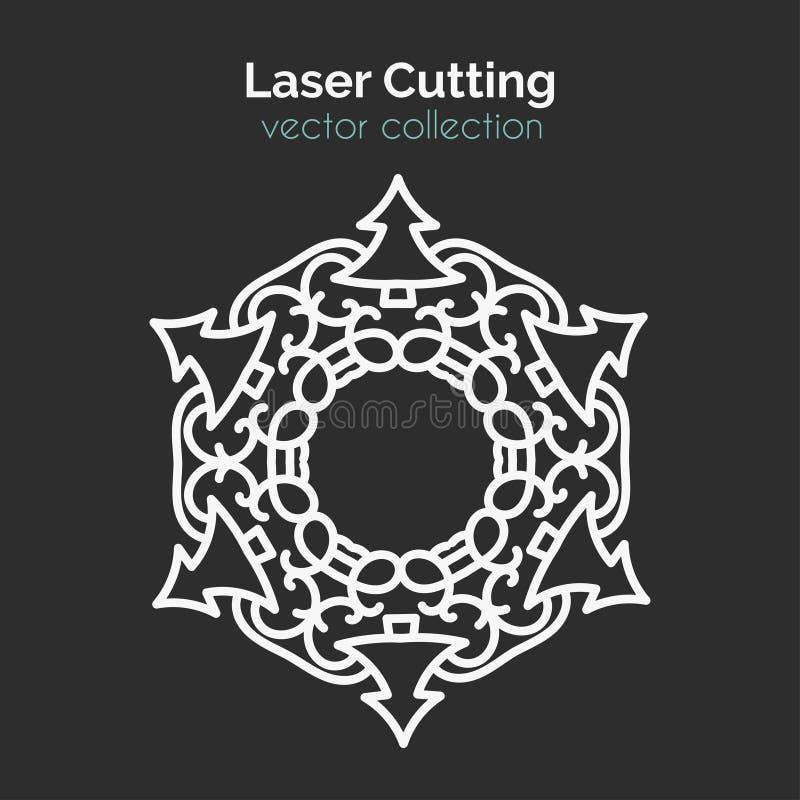 Plantilla de corte del laser Tarjeta redonda de la Navidad Mangala cortado con tintas ilustración del vector