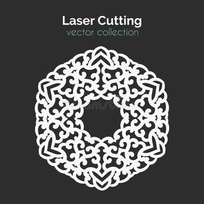 Plantilla de corte del laser Tarjeta redonda Mangala cortado con tintas ilustración del vector