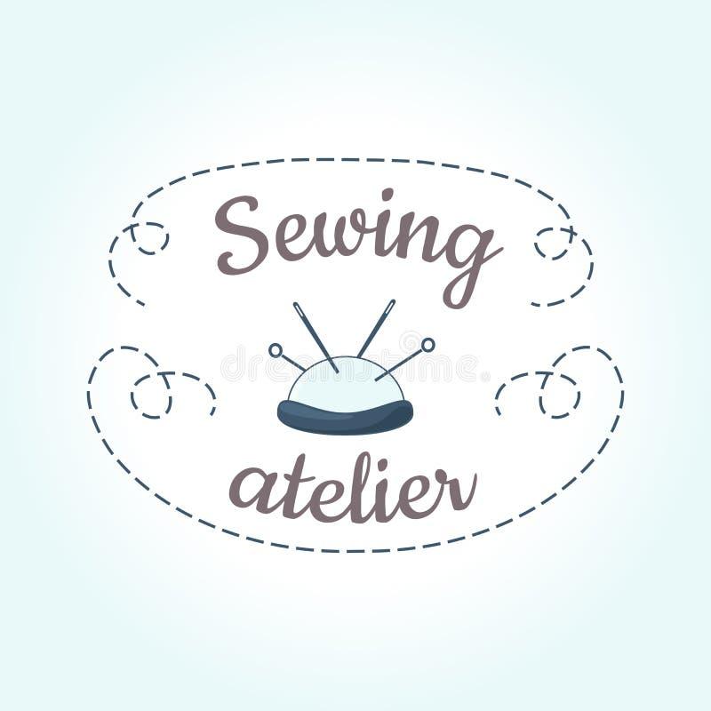 Plantilla de costura del logotipo con la aguja y la puntada stock de ilustración
