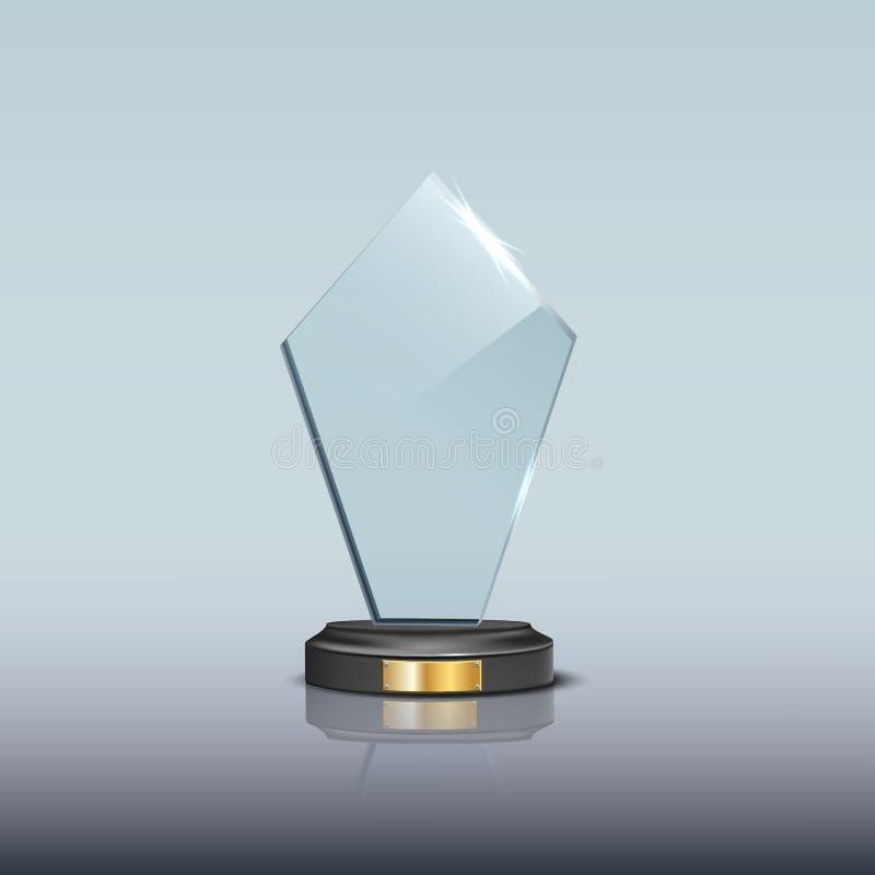 Plantilla de cristal del premio Premio de cristal en blanco del trofeo del vector ilustración del vector