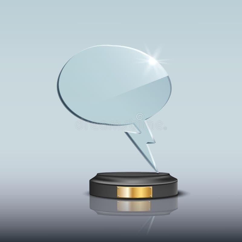 Plantilla de cristal del premio de la burbuja del discurso Premio de cristal en blanco del trofeo de la burbuja del discurso del  stock de ilustración