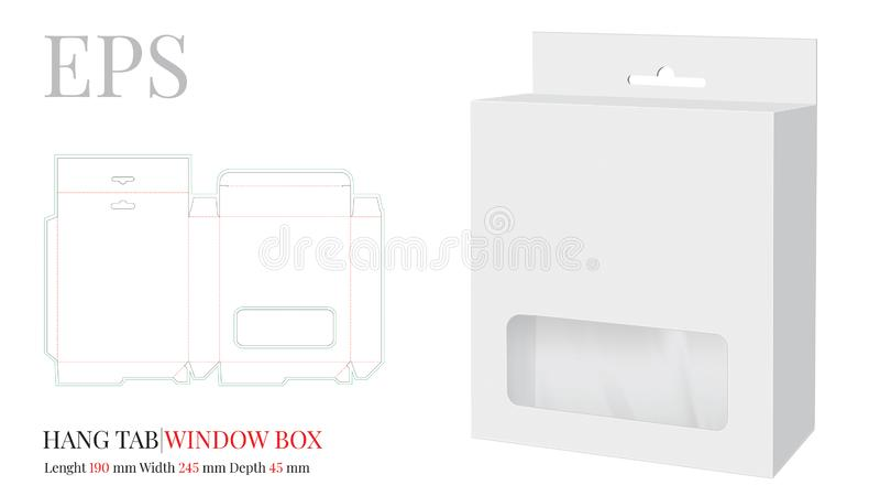 Plantilla de cuadro de la ventana de la pestaña colgante, Vector con líneas de corte por láser/corte por láser. Blanco, claro, stock de ilustración